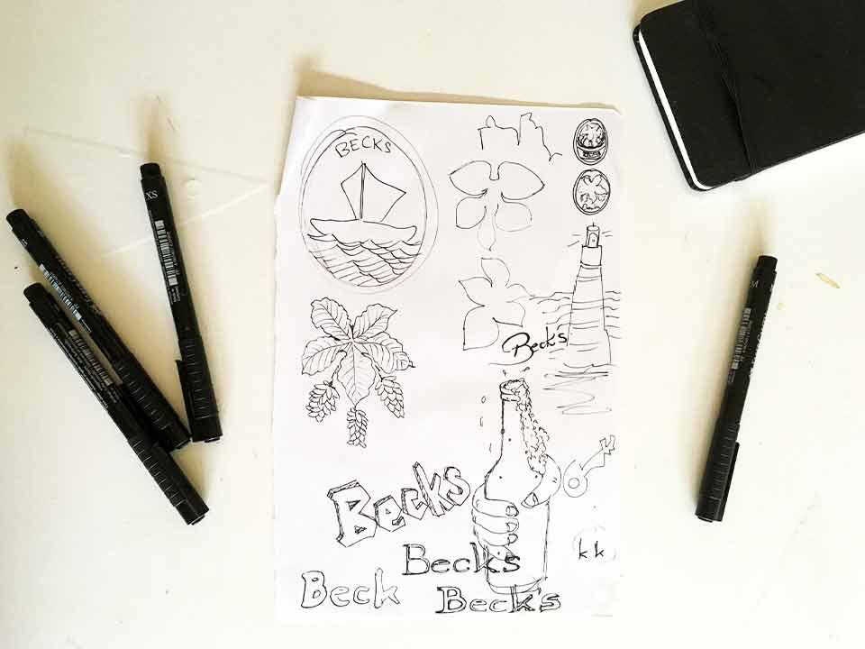 Scribbles und Ideenfindung Becks